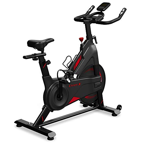 Dripex Speedbike Indoor Cycle mit Magnetwiderstand, Stufenlose Widerstandseinstellung, Größenverstellbar, Leise Riemenantrieb, LCD Monitor, Pulse Sensor, max. Benutzergewicht 120 kg